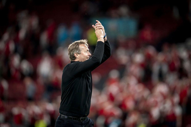 Danmarks landstræner, Kasper Hjulmand, efter EM-kampen mellem Danmark og Rusland i Parken i København, mandag 21. juni 2021.