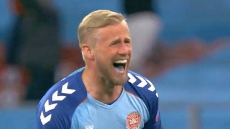 Kasper Schmeichel med den omtalte blå tunge.