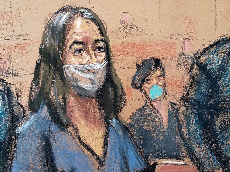 En tegning af Ghislaine Maxwell ved et retsmøde i april. Retssagen mod hende indledes i november.