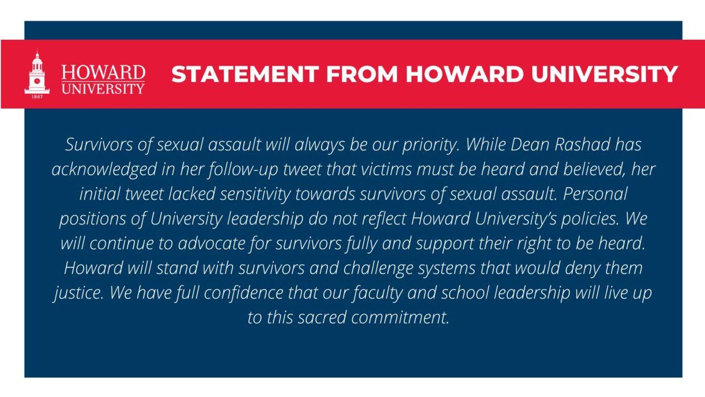 Her kan du læse Howard Universitys udtalelse efter universitets nye dekan, skuespilleren Phylicia Rashad, støttede op om Bill Cosbys løsladelse.