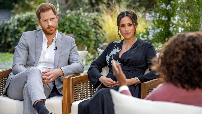 Hertuginde Meghan og prins Harry hos Oprah Winfrey i marts.