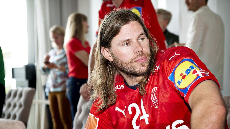 Mikkel Hansen på et pressemøde forud for OL