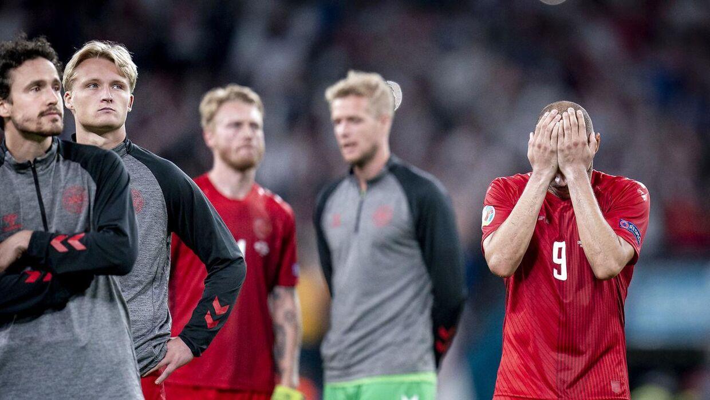Martin Braithwaite, Thomas Delaney og Kasper Dolberg under semifinalen mellem England og Danmark på Wembley, onsdag den 7. juli 2021. (Foto: Liselotte Sabroe/Ritzau Scanpix)
