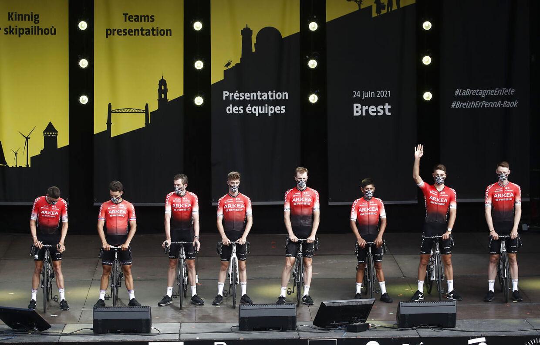 Sådan så Arkéa-Samsic-holdet ud ved Tourens start. Nu har de fleste af dem vinket farvel til Tour de France, og holdet er kun tre tilbage i løbet: Nairo Quintana, Élie Gesbert og Connor Swift.