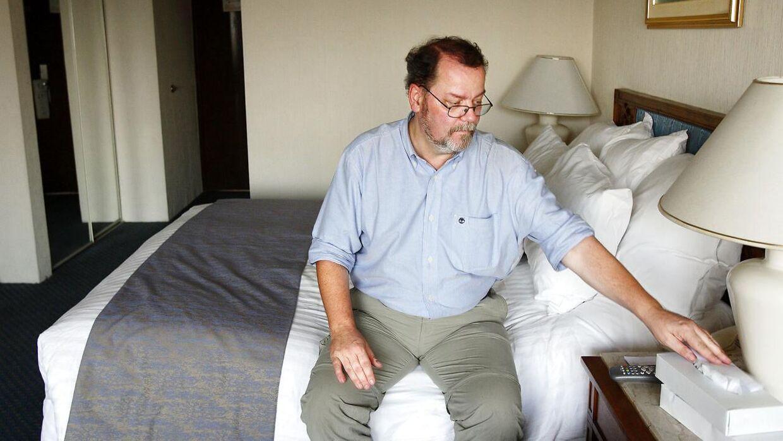 Journalist Steffen Jensen i Cairo for TV 2. Steffen Jensen tilbringer en stor del af sit liv med at rejse og ser en del hotelværelser.