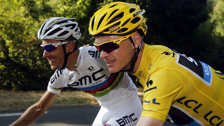Chris Froome og Philippe Gilbert i deres velmagtsdage i 2013. Briten som Tour de France-vinder og belgieren som verdensmester.