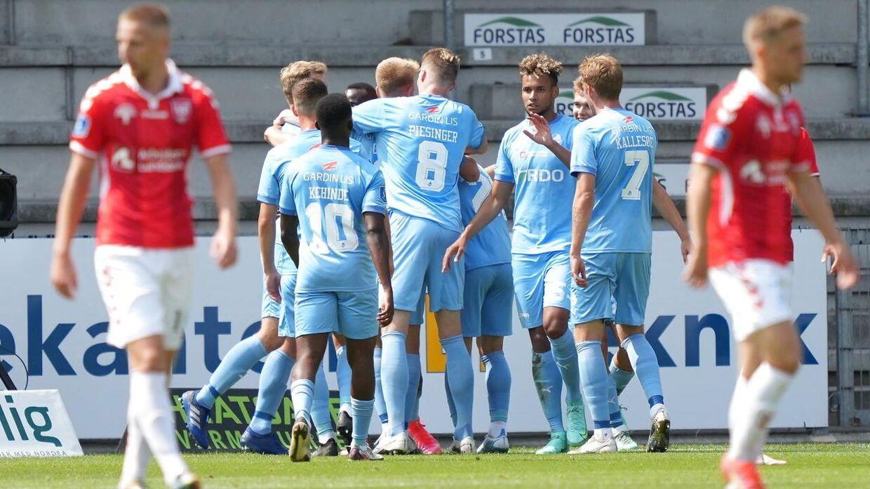 Randers kom foran 2-0 i første halvleg mod Vejle.