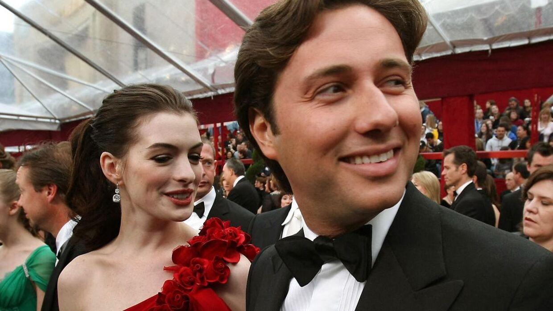 Anne Hathaway og hendes daværende Raffaello Follieri få måneder før, han blev anholdt.