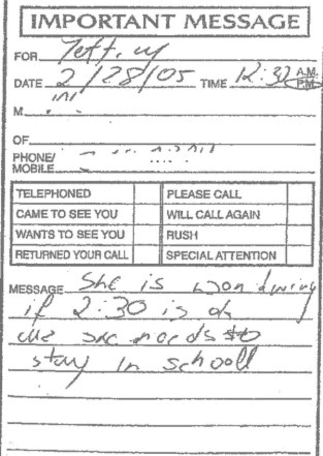 »Hun vil høre, om 14.30 er okay, fordi hun er nødt til at blive i skole,« står der på noten til Jeffrey Epstein.