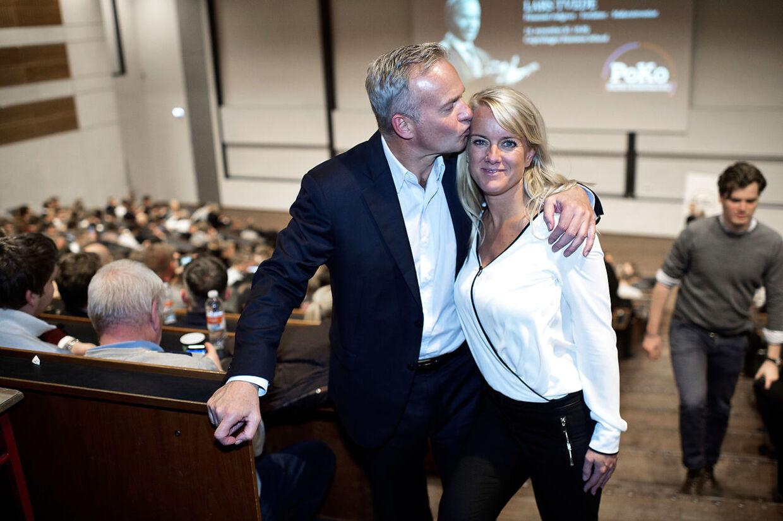 Pernille Vermund og Lars Tvede på CBS, hvor han holdte foredrag for de studerende.