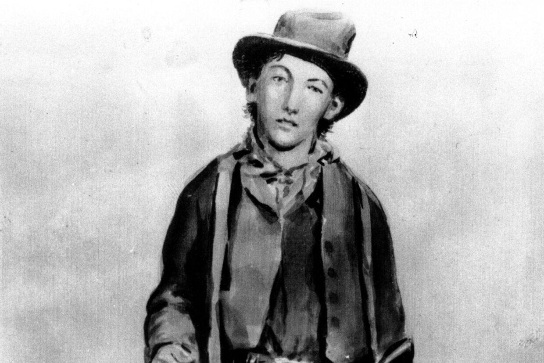 Billy the Kid var efterlyst for drab af otte mænd i to amerikanske delstater, da han i 1881 blev opsporet af sherif Pat Garrett på en ranch i New Mexico og dræbt. (udateret foto af maleri af Billy the Kid). Unknown/Ritzau Scanpix