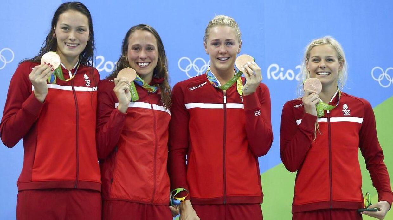 Det danske svømmelandshold, der vandt bronze ved 4 x 100 meter medley i Rio i 2016.