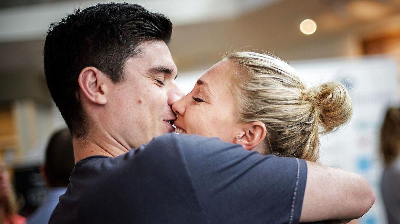 Jeanette Ottesen og manden Marco Loughran efter OL i Rio i 2016.