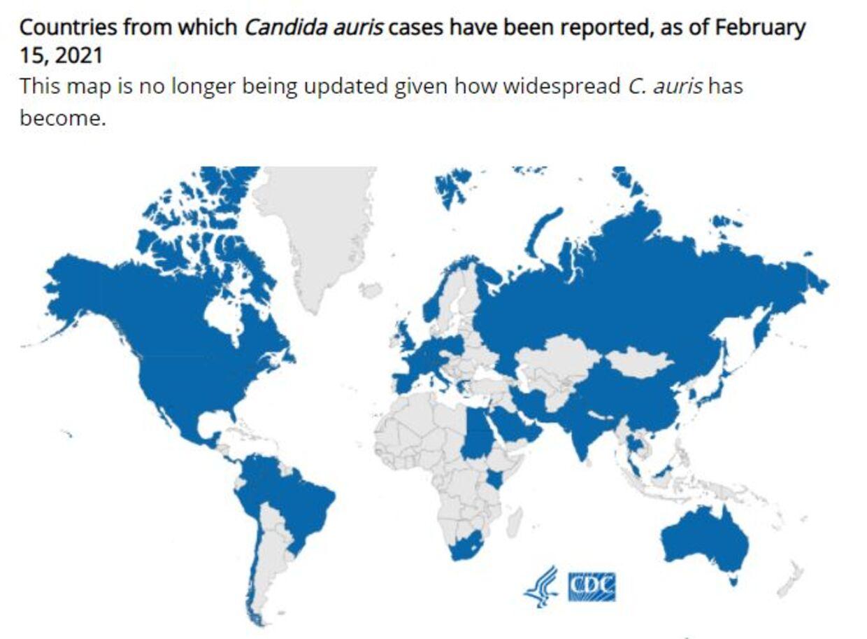 Her kan du se et kort over de lande, som svampeinfektionen har bredt sig til siden 2009. Foto: cdc.gov