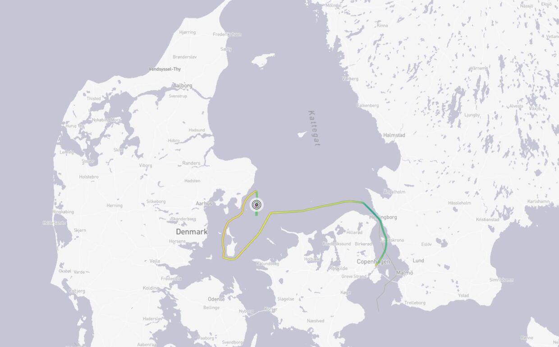 Her Kongeskibet Dannebrogs rute siden lørdag morgen.