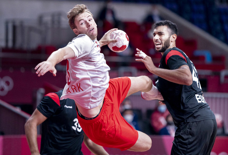Mathias Gidsel under håndboldkampen mellem Danmark og Egypten til OL i Tokyo, mandag den 26 juli 2021. (Foto: Liselotte Sabroe/Ritzau Scanpix)