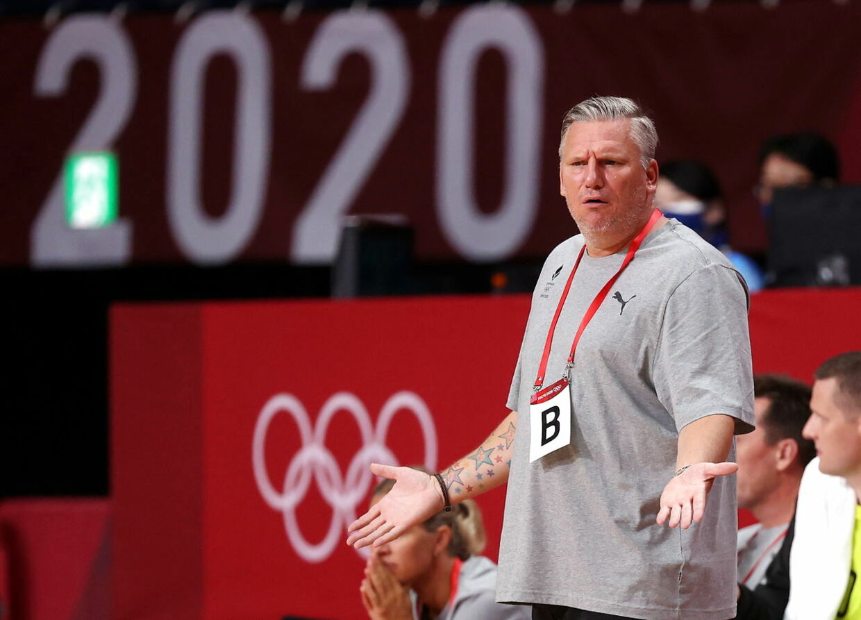 epa09362132 Denmark head coach Nikolaj Jacobsen reacts during the Men's Preliminary Round Group B match between Denmark and Japan during the Handball events of the Tokyo 2020 Olympic Games at the Yoyogi National Gymnasium arena in Tokyo, Japan, 24 July 2021. EPA/WU HONG