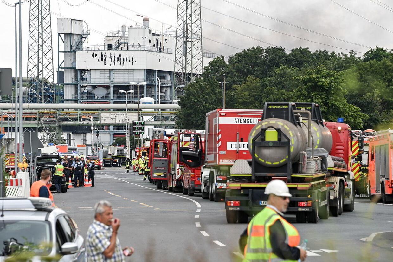 Beredskabet i Leverkusen er på plads efter eksplosionen.