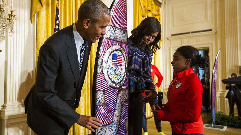 Simone Biles mødte det daværende præsidentpar, Barack og Michelle Obama.