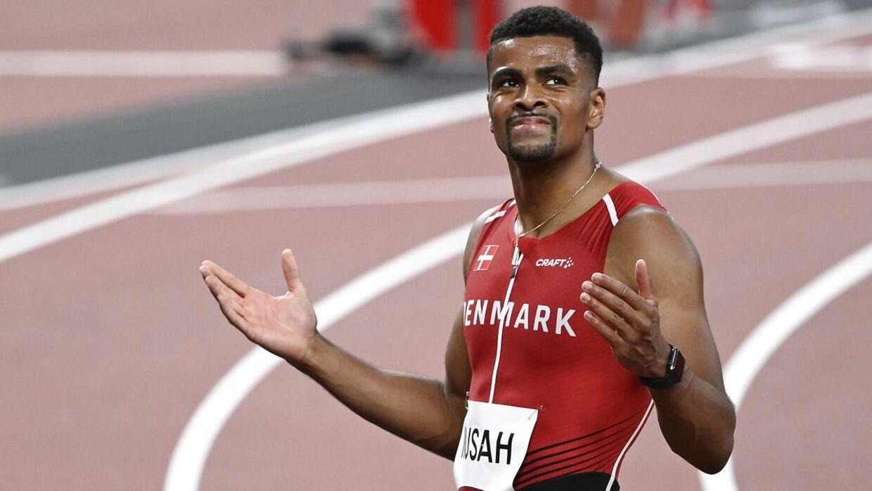 Kojo Musah fra Danmark løber 100 meter indledende heat på det Olympiske Stadion i Tokyo ved Tokyo 2020 Olympiske Lege lørdag den 31. juli 2021. (Foto: Lars Møller/Ritzau Scanpix 2021)
