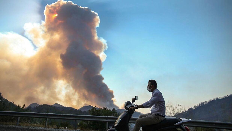 En mand på sin scooter i Mugla i Tyrkiet.