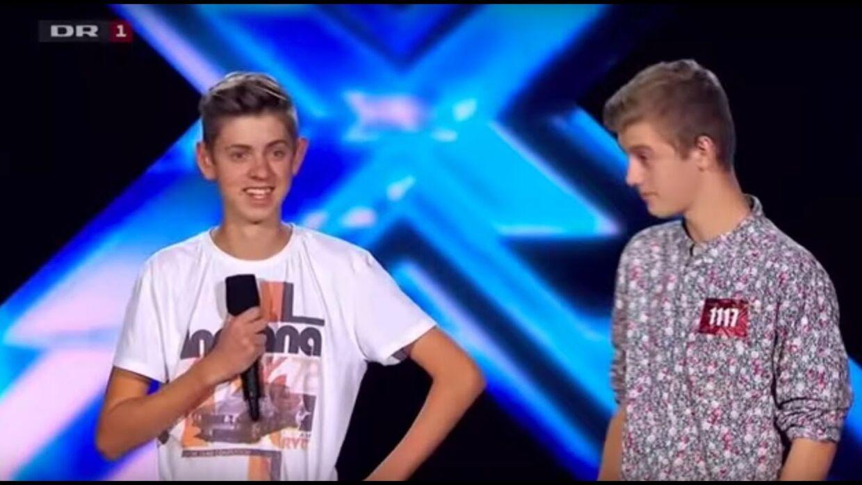 Albert Dyrlund og Anton Cornelius i 'X Factor' tilbage i 2014.