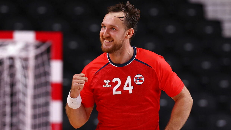 Tokyo 2020 Olympics - Handball - Men - Group A - Norway v France - Yoyogi National Stadium - Tokyo, Japan - August 1, 2021. Christian O'Sullivan of Norway celebrates scoring a goal REUTERS/Siphiwe Sibeko