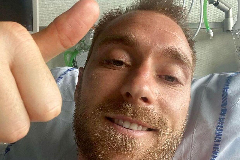 Christian Eriksen delte tre dage efter sit kollaps et billede fra sygesengen.