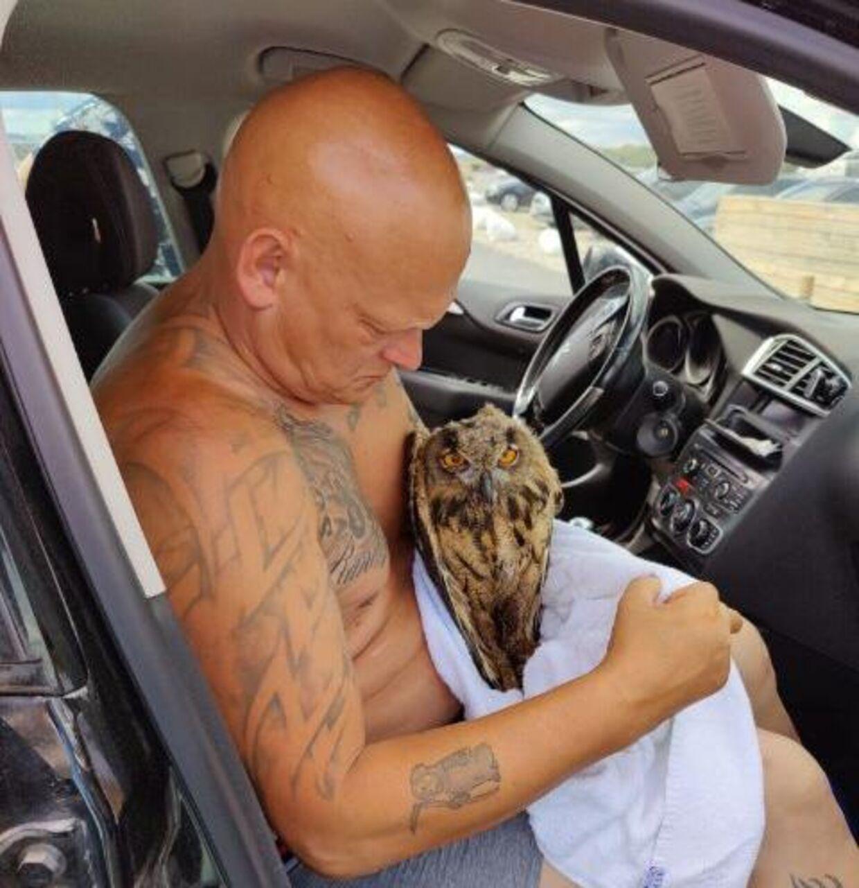 Jimmy Hansen smed tøjet og hoppede ud efter uglen, da den blev angrebet af måger