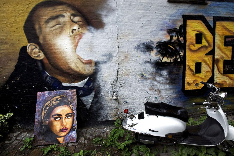 Graffitimaleri til minde om Benjamin Vastrup Armstrong, der blev dræbt i en vådskudsulykke i Pusher Street på Christiania.