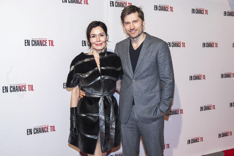 Nikolaj Coster-Waldau er gift med skuespiller Nukaka Coster-Waldau. Her er de sammen ved premieren på filmen 'En chance til' i 2015.
