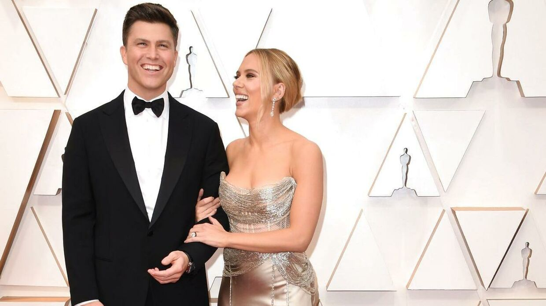 Scarlett Johansson og Colin Jost til Oscaruddelingen i 2020, kort tid efter, de blev gift.