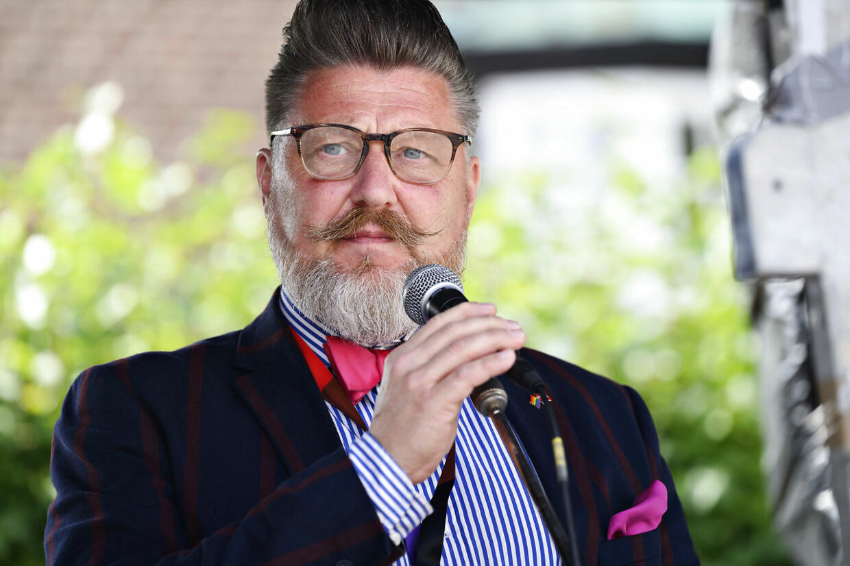 Forperson i Copenhagen Pride Lars Henriksen holder tale under Copenhagen Pride. Foto: Philip Davali/Ritzau Scanpix