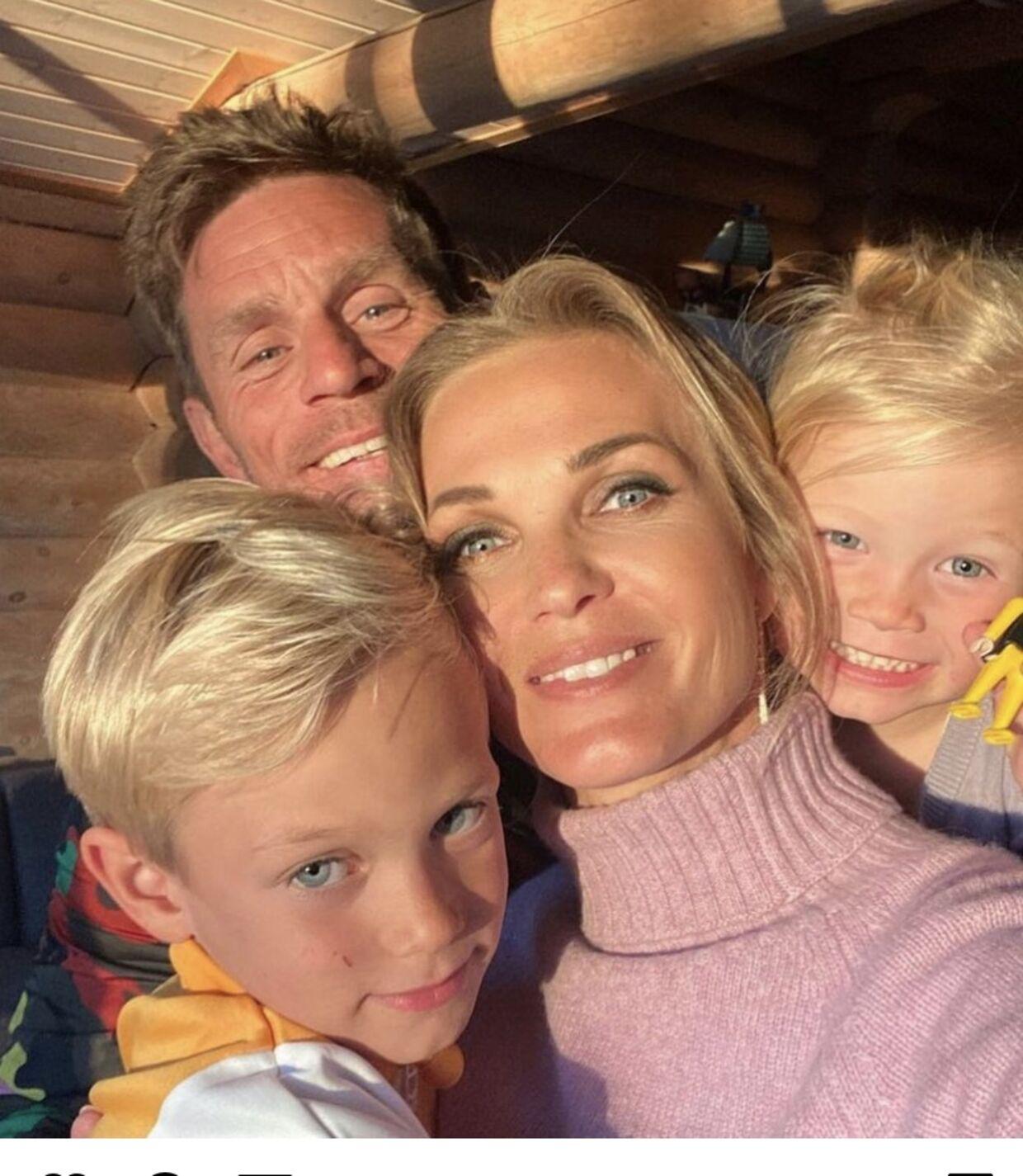 Tina Lund og Allan Nielsen med deres to børn, Lilli og Louis.