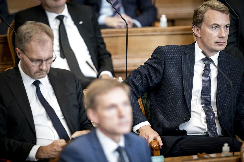 Peter Skaarup, Kristian Thulesen Dahl og Morten Messerschmidt under Folketingets åbning tirsdag 6. oktober 2020.