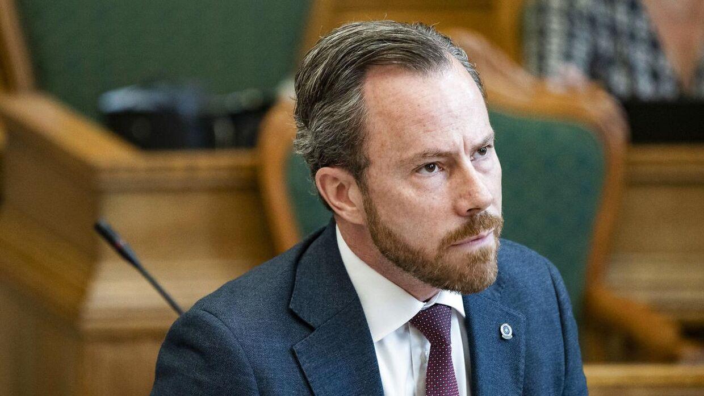 Jakob Ellemann-Jensen (V) under folketingets afslutningsdebat i folketingssalen, onsdag den 2. juni 2021.. (Foto: Emil Helms/Ritzau Scanpix)