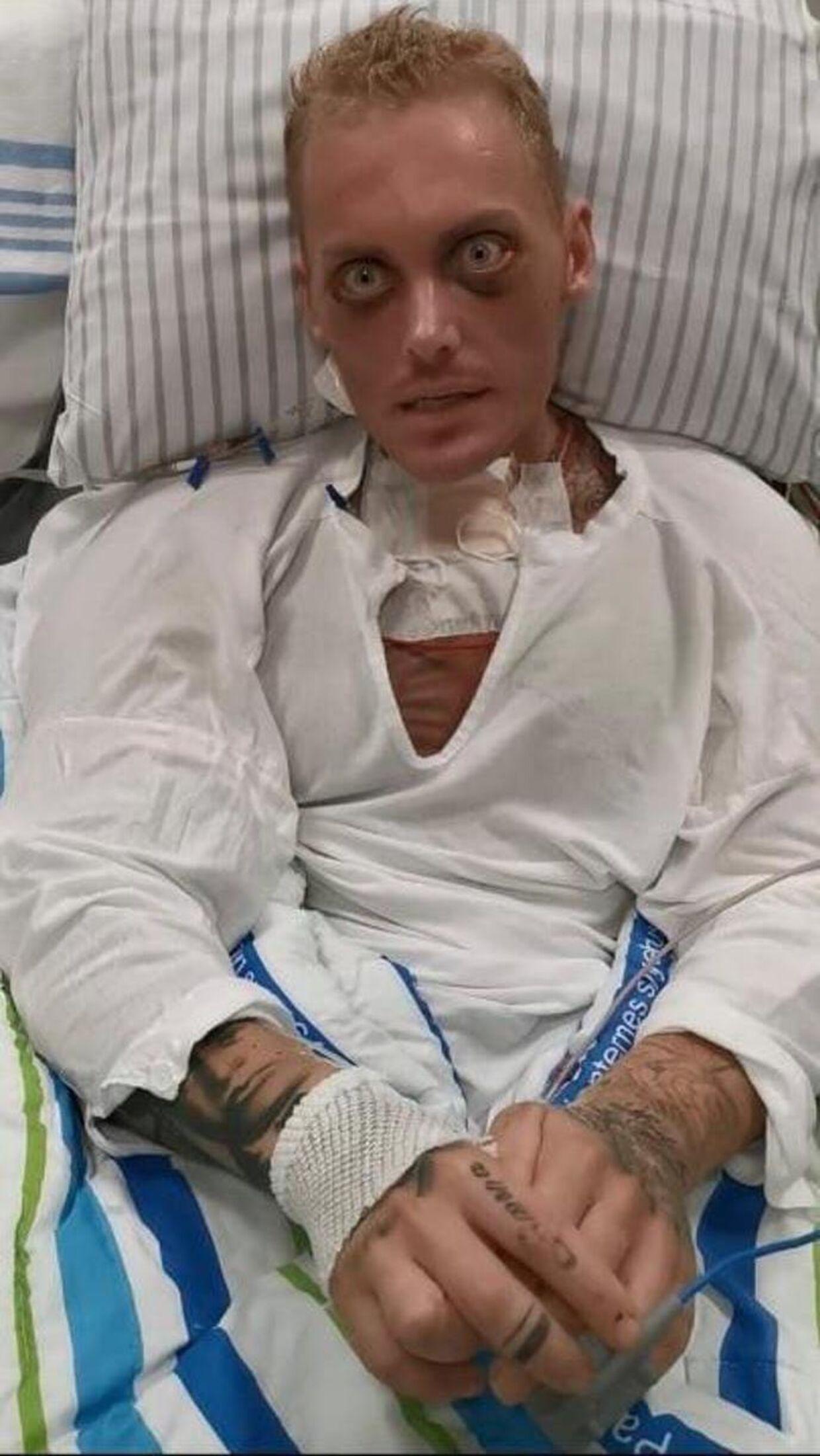 Patrick Teichert på hospitalet. Privatfoto.