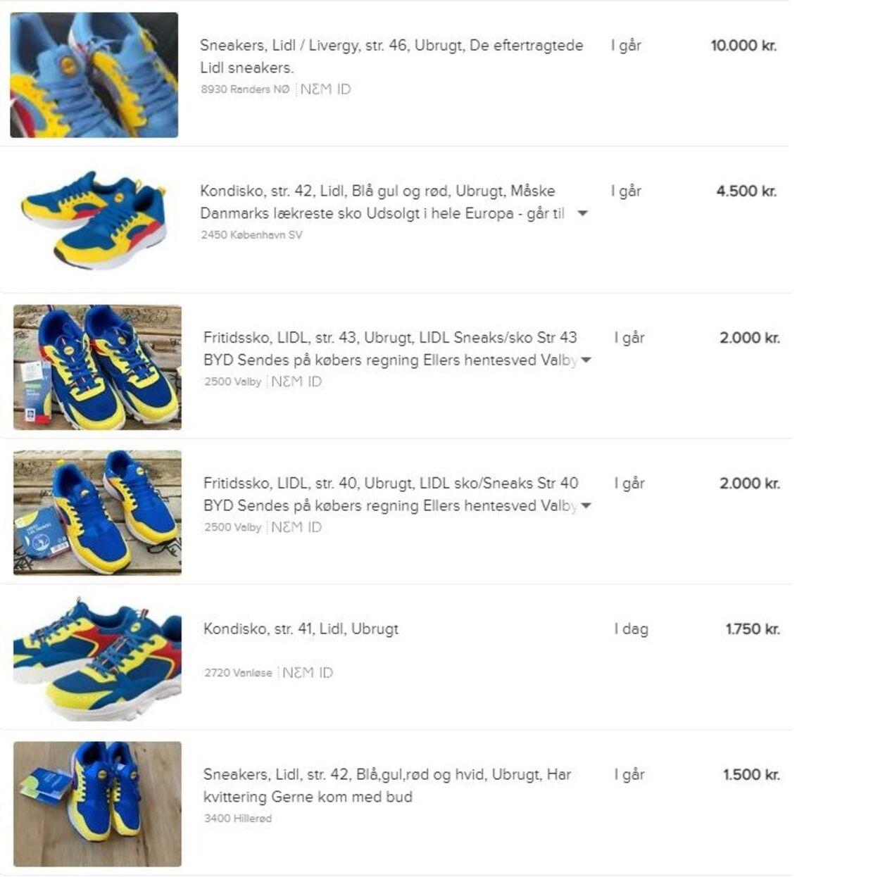 Lidl-sko bliver sat til salg på Den Blå Avis for op til hundrede gange købspris. Foto: dba.dk