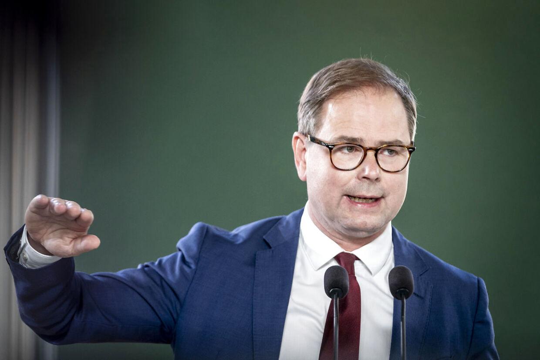 Finansminister Nicolai Wammen holder pressemøde om finanslovforslaget for 2022 samt Økonomisk Redegørelse, i Finansministeriet i København, mandag 30. august 2021. (Foto: Mads Claus Rasmussen/Ritzau Scanpix)