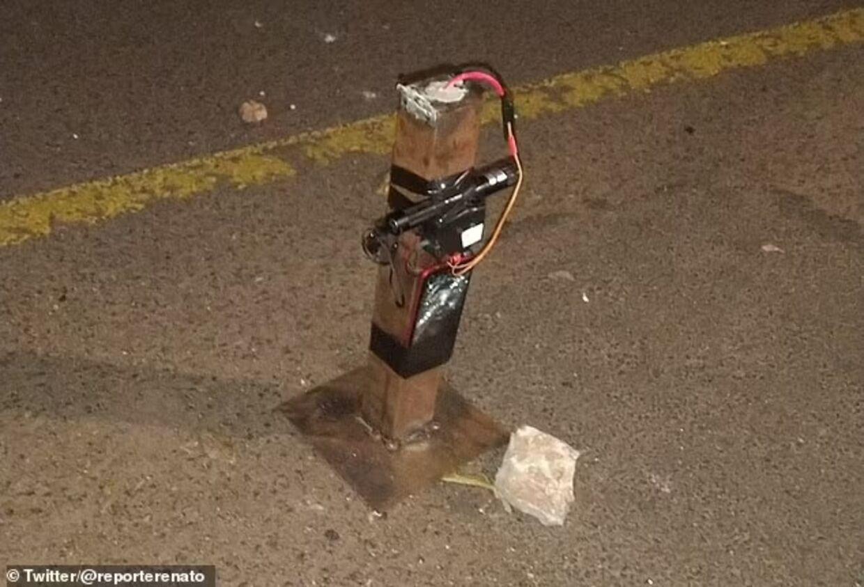 En af bankrøvernes efterladte bomber.
