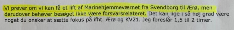 Mailen her er sendt fra Forsvarsministeriet og til den socialdemokratiske borgmester på Ærø Ole Wej Petersen.