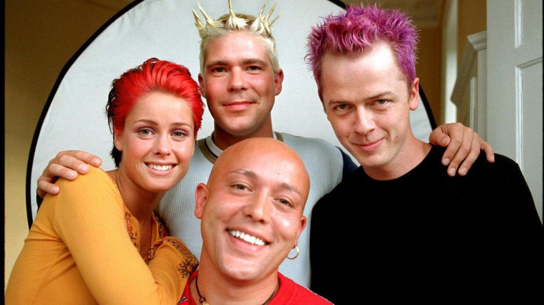Popgruppen Aqua, da de var allerstørst. Forrest Rene Dif, i midten Lene Nystrøm og Claus Norreen og bagved Søren Rasted.