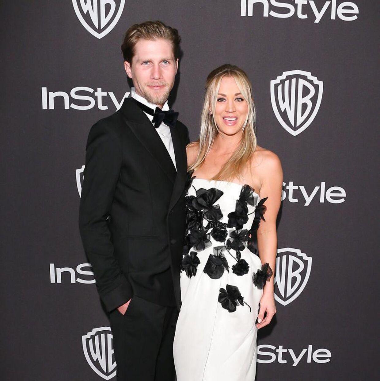 Kaley Cuoco og Karl Cook til InStyles Golden Globes-forfest i Beverly Hills i januar 2019.