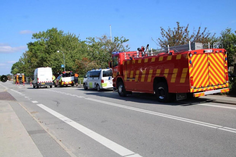 Udrykning til stede ved et gasudslip i Ågerup, Roskilde.