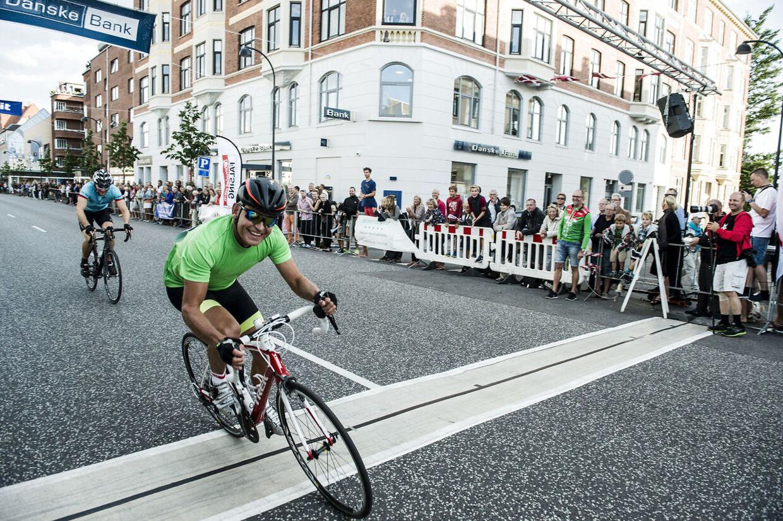 Her er Bubber i fuld fart under cykelløbet La Flamme Rouge i 2014.