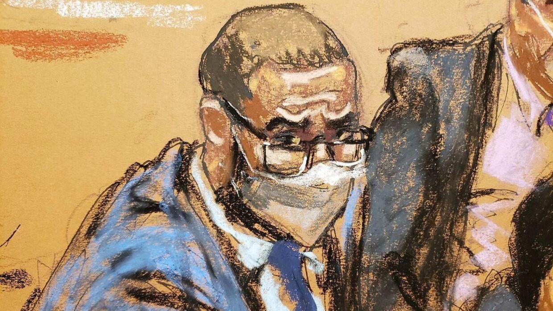 En tegning af R. Kelly i retten torsdag.