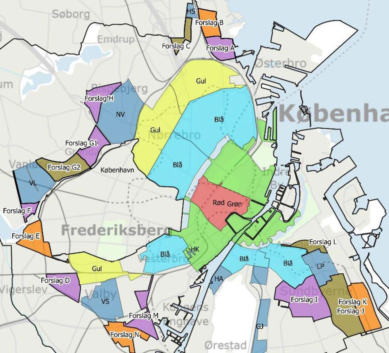 Det er områderne kaldet 'Forslag A-L,' der netop af landet en aftale om at oprette. Grafik: Københavns Kommune