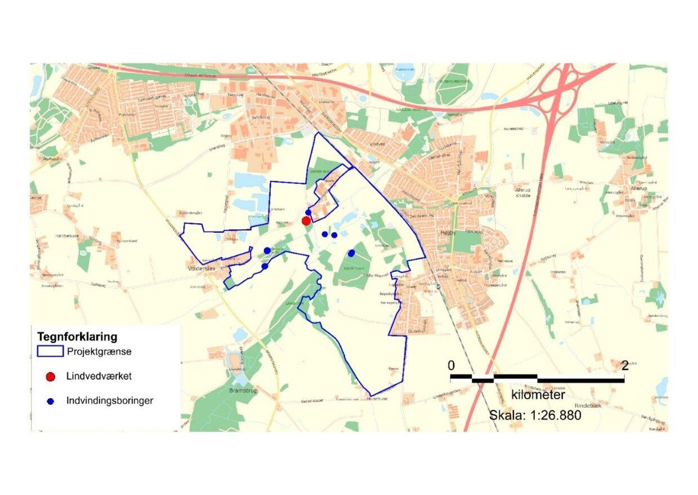 Her ses området, hvor man ønsker at anlægge en skov.