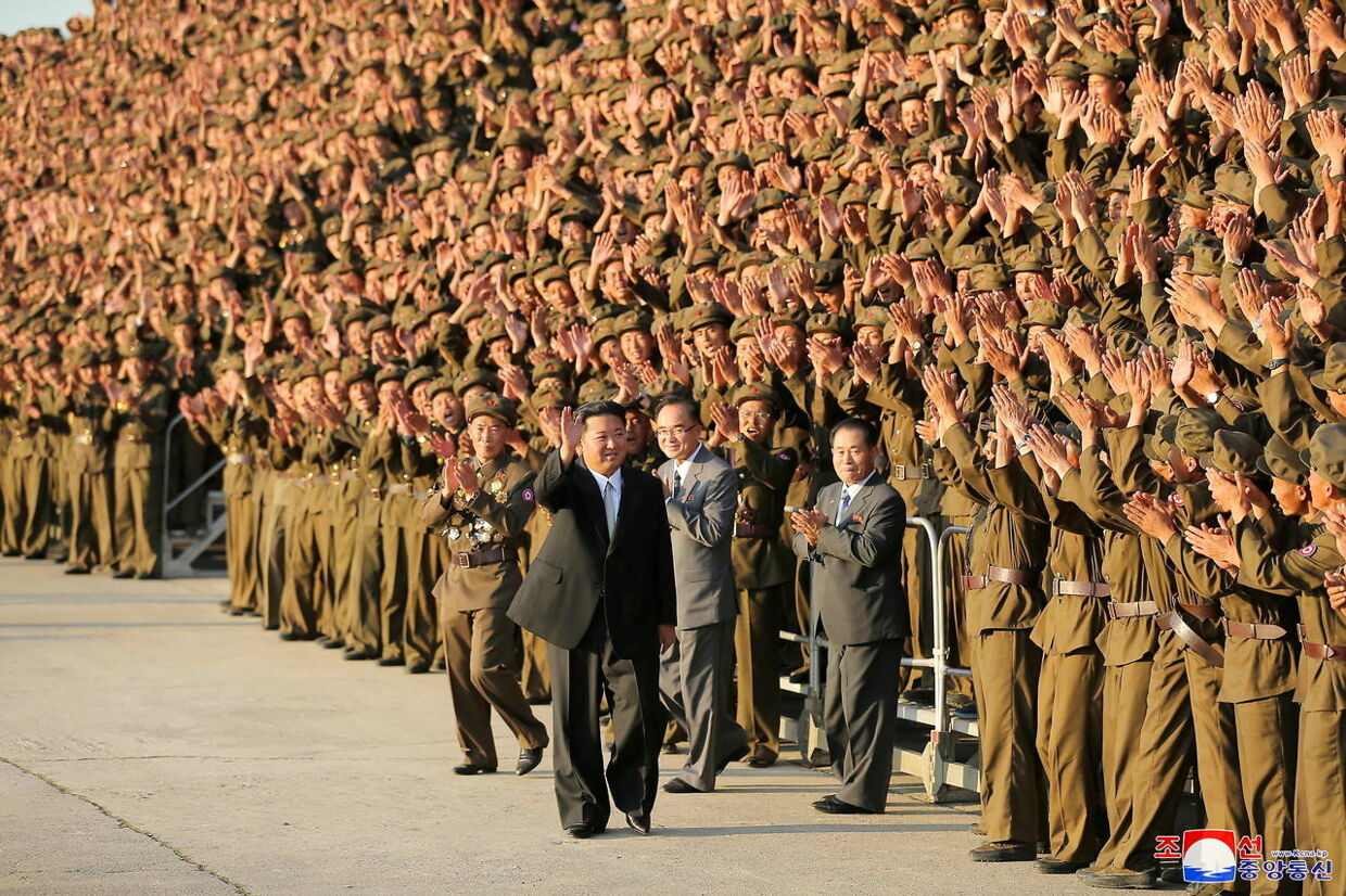 North Korean leader Kim Jong Un greets military members on the 73rd anniversary of the country's founding, in Pyongyang, in this undated image supplied by North Korea's Korean Central News Agency on September 9, 2021. KCNA via REUTERS ATTENTION EDITORS - THIS IMAGE WAS PROVIDED BY A THIRD PARTY. REUTERS IS UNABLE TO INDEPENDENTLY VERIFY THIS IMAGE.NO THIRD PARTY SALES. SOUTH KOREA OUT. TPX IMAGES OF THE DAY