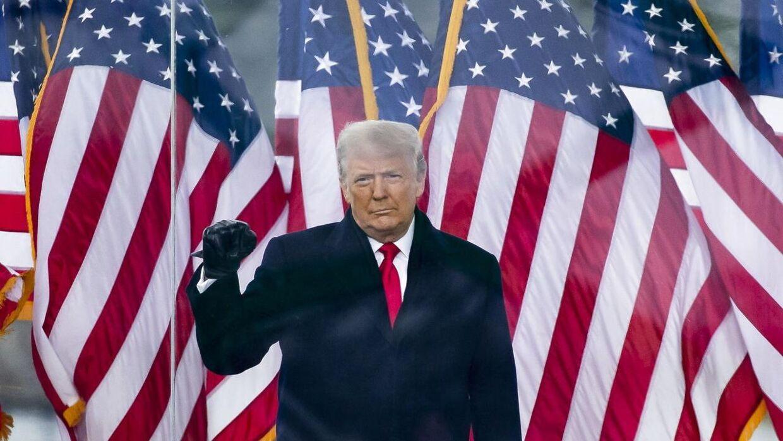 Tidligere præsident Donald Trump til støttearrangement ved Det Hvide Hus i Washington i januar 2021.